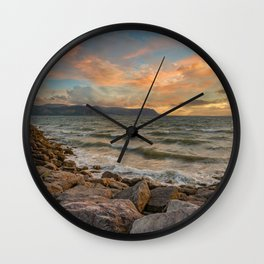 Sunset at West Shore Llandudno Wall Clock