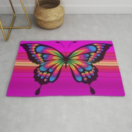 Vibrant, Decorative Butterfly Rug