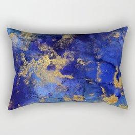 Gold And Blue Indigo Malachite Marble Rectangular Pillow