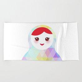 Russian doll matryoshka with bright rhombus on white background, rainbow pastel colors Beach Towel