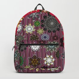 Snowflakes on Plum Purple & Scarlet Red Background (Xmas) Backpack