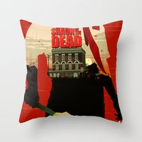 shaun of the dead Throw Pillows featuring Shaun Of The Dead by Duke Dastardly