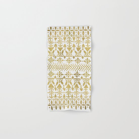 Norwegian Pattern – Gold on White Hand & Bath Towel