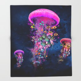 Floating Electric Jellyfish Worlds Throw Blanket