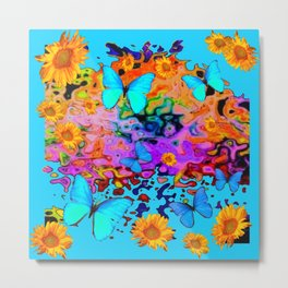 Blue Butterflies Sunflower Dreamscape Art Metal Print