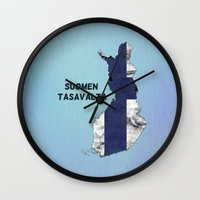 finland Wall Clocks featuring Finland / Suomen Tasavalta by Dandy Octopus