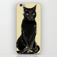 black cat iPhone & iPod Skins featuring Black Cat by Jaleesa McLean