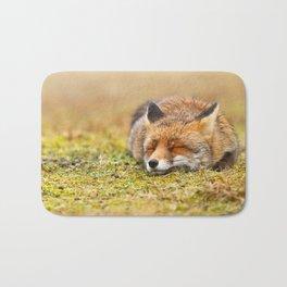 Comfortably Fox (red fox sleeping) Bath Mat