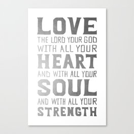 (White/Silver) Heart Soul Strength Canvas Print
