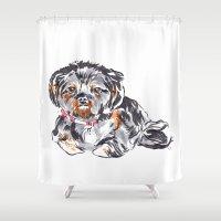 shih tzu Shower Curtains featuring Shih Tzu by bellandpixel