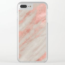 Marble Rose Gold White Marble Foil Shimmer Clear iPhone Case
