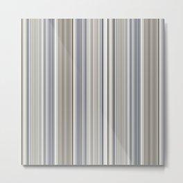 Blue grey Tan Stripes Metal Print