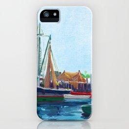 Galilee Fishing Village, Jerusalem, Point Judith, Narragansett, Rhode Island landscape painting iPhone Case