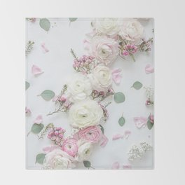 SPRING FLOWERS WHITE & PINK Throw Blanket