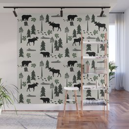 Camping woodland forest nature moose bear pattern nursery gifts Wall Mural