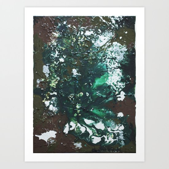 Green abstract liquidity. Art Print