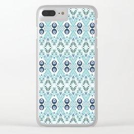 Ikat Java Blue Mini Clear iPhone Case