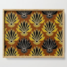 ART DECO YELLOW BLACK COFFEE BROWN AGAVE ABSTRACT Serving Tray
