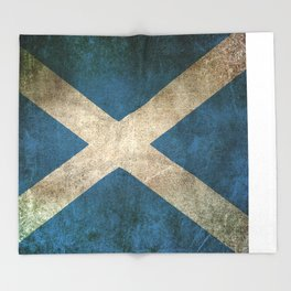 Old and Worn Distressed Vintage Flag of Scotland Throw Blanket