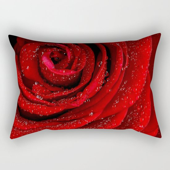 Red rose with sparkling droplets- Beautiful elegant Roses Rectangular Pillow