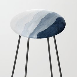 Indigo Abstract Watercolor Mountains Counter Stool