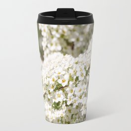 White color of spiraea. Travel Mug