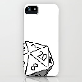 D20 Roleplaying Die Icosahedron Pixel Art B&W iPhone Case