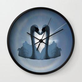 Two Blue Swans Inside Sun's Halo Wall Clock