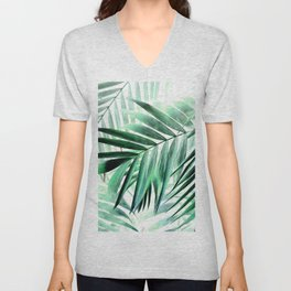 Tropical green leaves design Unisex V-Neck