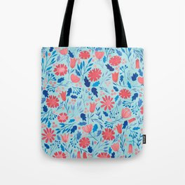 Gouache Floral no.2 | Red, Pink & Blue Tote Bag