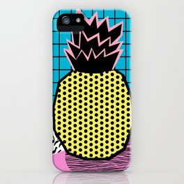Grindage - pineapple fruit tropical pattern memphis style art print bright neon 1980 1980's 80's 80s iPhone Case