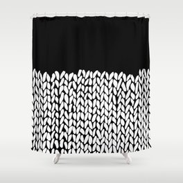 Half Knit  Black Shower Curtain