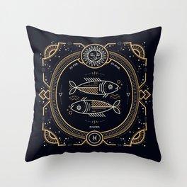 Pisces Zodiac Golden White on Black Background Throw Pillow