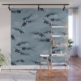 Orca in Motion / blue-gray ocean pattern Wall Mural