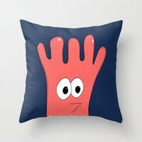 greg guillemin Throw Pillows featuring Monster Greg by Chelsea Herrick