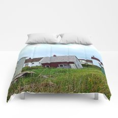 Lighthouse and shacks in North-Rustico PEI Comforters