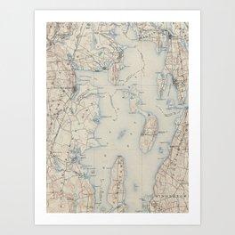 Vintage Map of The Narragansett Bay (1888) Art Print