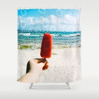 popsicle Shower Curtains featuring Popsicle  by Caroline Fahey