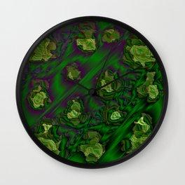 green abstract metal pattern Wall Clock