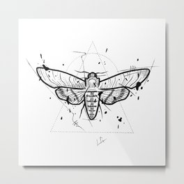 Moth Handmade Drawing, Made in pencil and ink, Tattoo Sketch, Tattoo Flash, Blackwork Metal Print