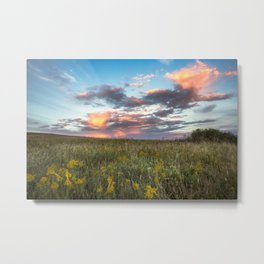 Prairie Fire - Fiery Sky at Sunset in Oklahoma Metal Print