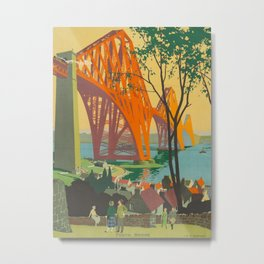 Mid Century Colorful Travel Posters Forth Bridge British Railways Metal Print