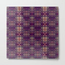 Weathered Looked Vintage Tapestry Pattern Metal Print