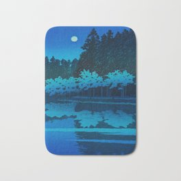 Vintage Japanese Woodblock Print Blue Forest At Night White Moonlight Mystical Trees Bath Mat