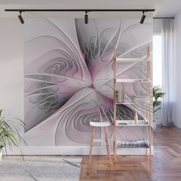 Fantasy Flower, Pink And Gray Fractal Art Wall Mural