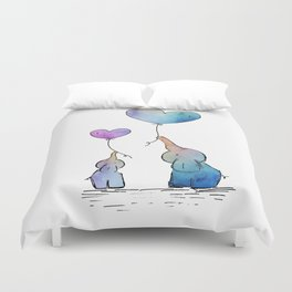 Colorful Watercolor Elephants Love Duvet Cover