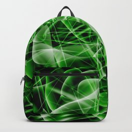 Glowing web of green cosmic lines of energy and a mystical smoke screen on a black background. Backpack