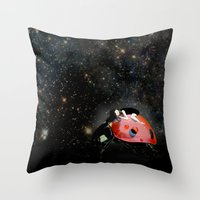 ladybug Throw Pillows featuring LADYBUG by auntikatar