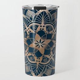 Lotus metal mandala on blue Travel Mug