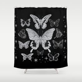 Vintage Butterflies in black and white - Retro Butterflies Shower Curtain